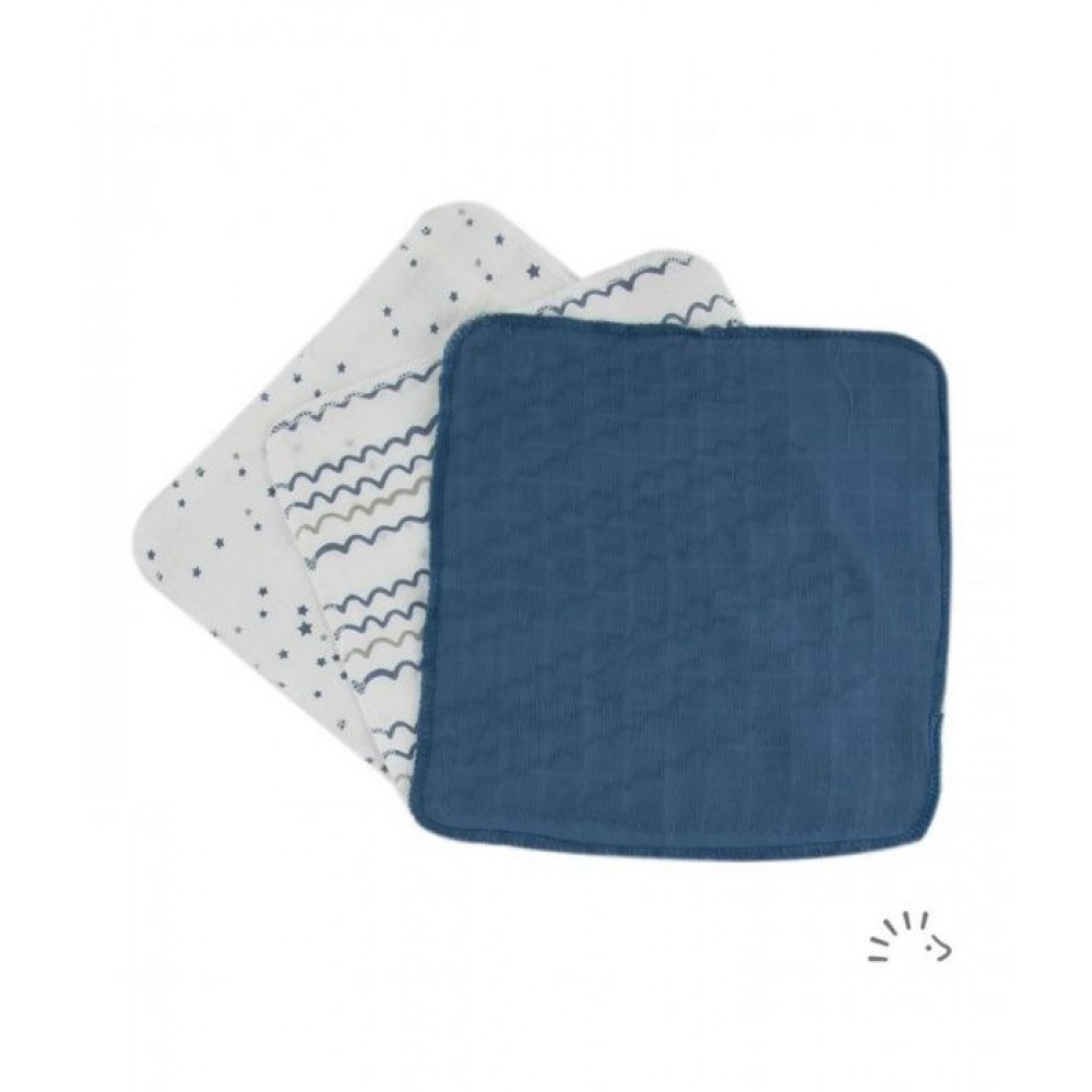 Popolini 3 små vaskeklude blålige nuancer-31