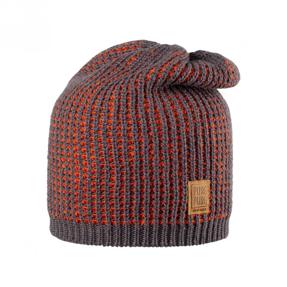 Pure Pure beanie/hue uld/silke/bomuld grå/terracotta-31