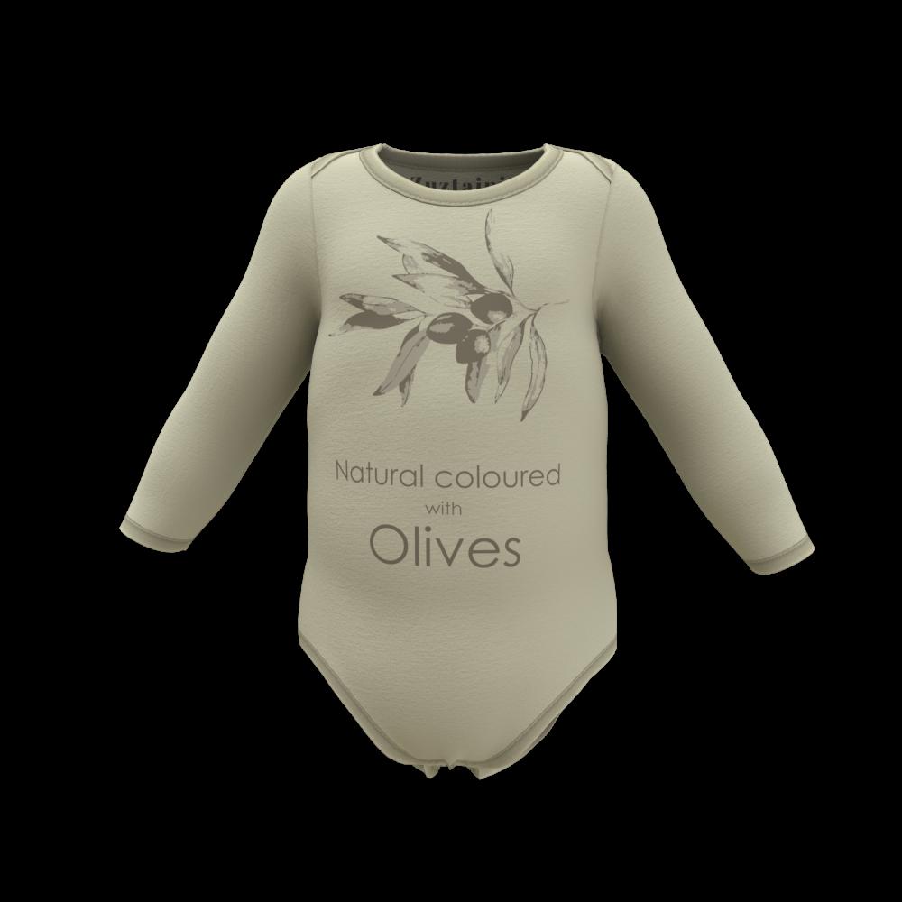Zuztainia langærmet body olive med print-31