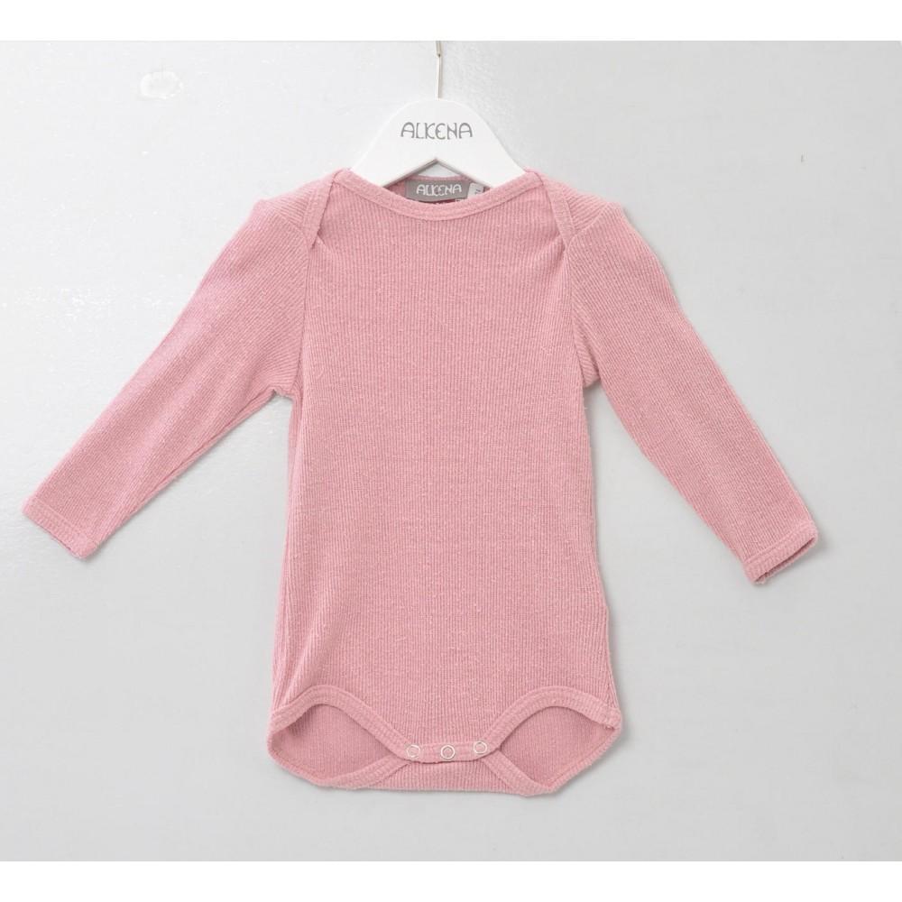 Alkena langærmet body bourette silke støvet rosa-31