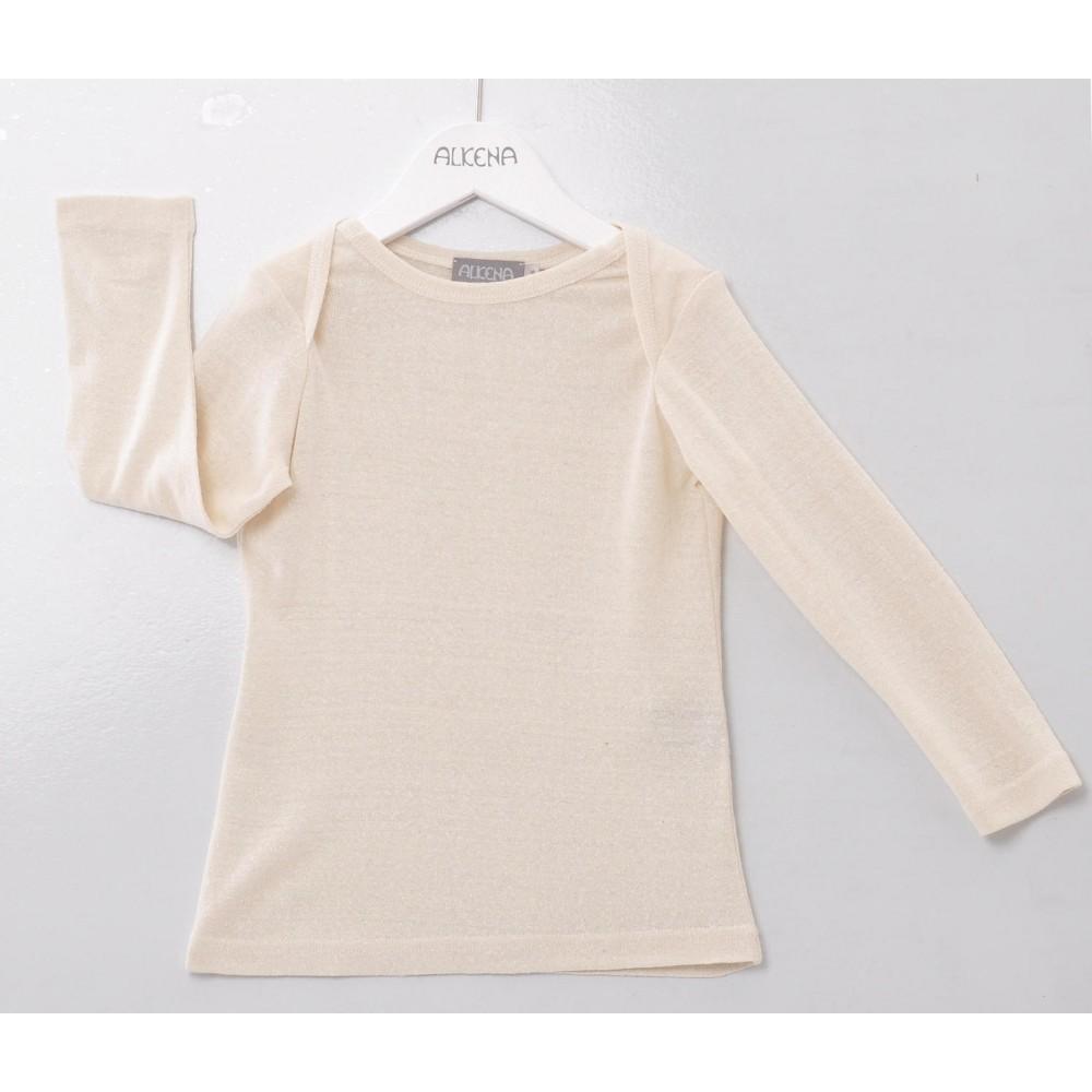 Alkena langærmet bluse bourette silke natur-31