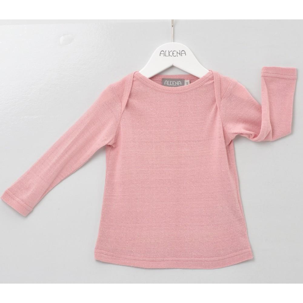 Alkena langærmet bluse bourette silke støvet rosa-31