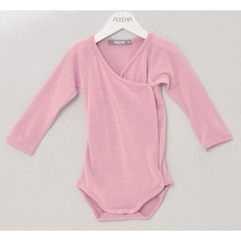 Alkena langærmet kimonobody bourette silke støvet rosa-31