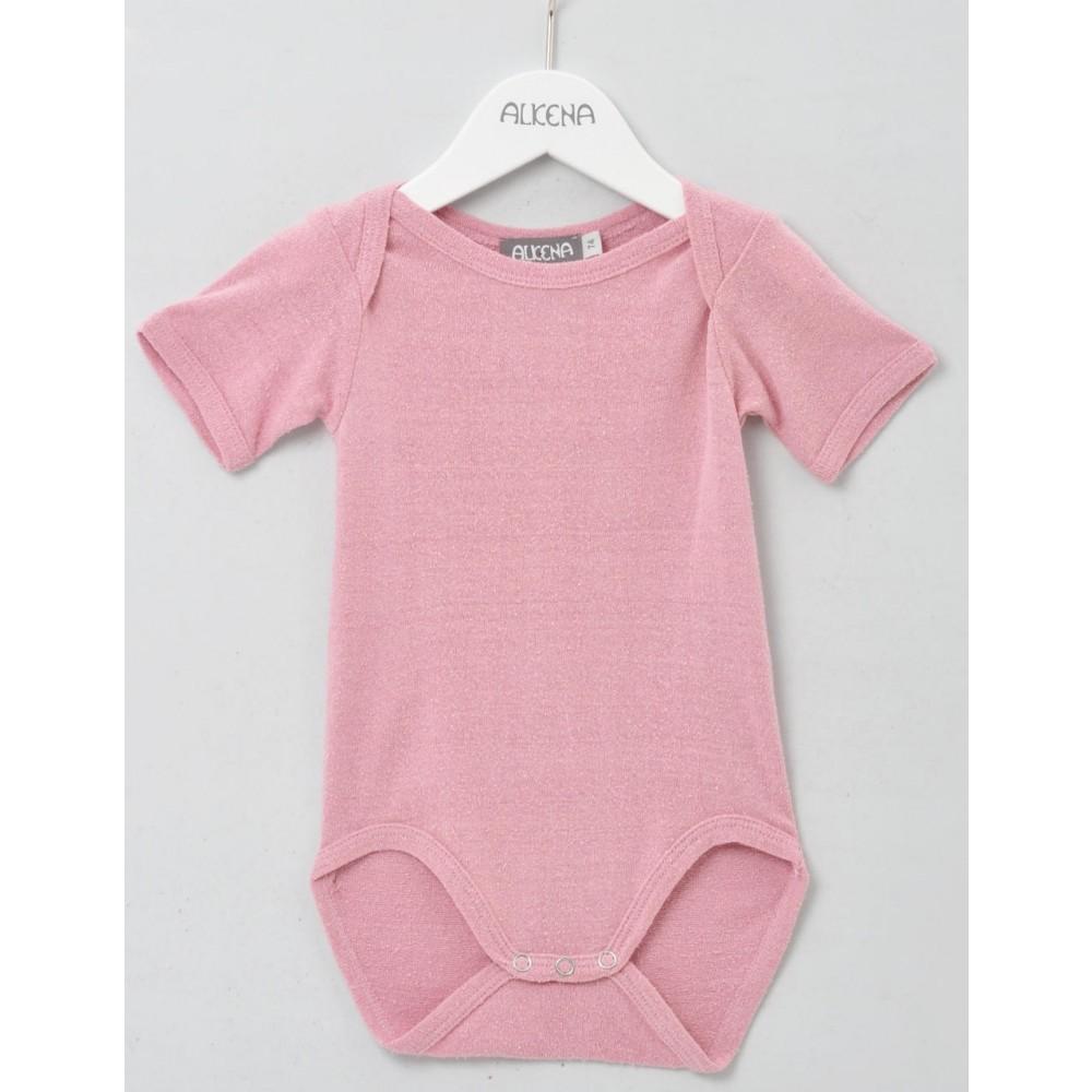 Alkena kortærmet body bourette silke støvet rosa-31
