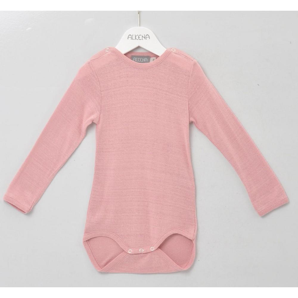 Alkena langærmet body bourette silke støvet rosa (ny udg.)-31