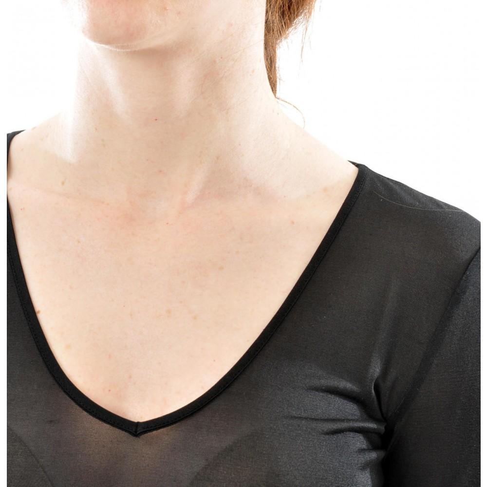 Alkena kortærmet t-shirt v-hals økologisk silke sort-01