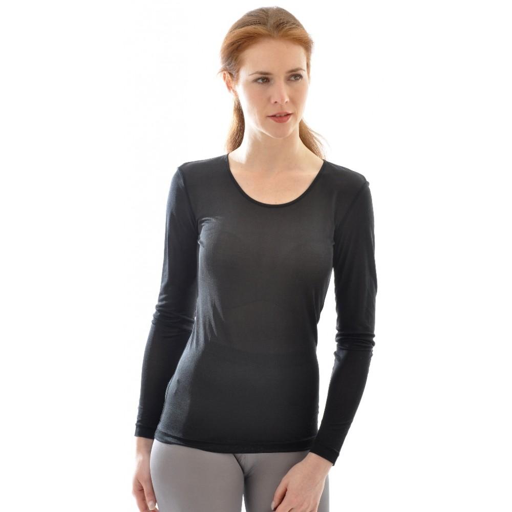 Alkena langærmet t-shirt økologisk silke sort-31