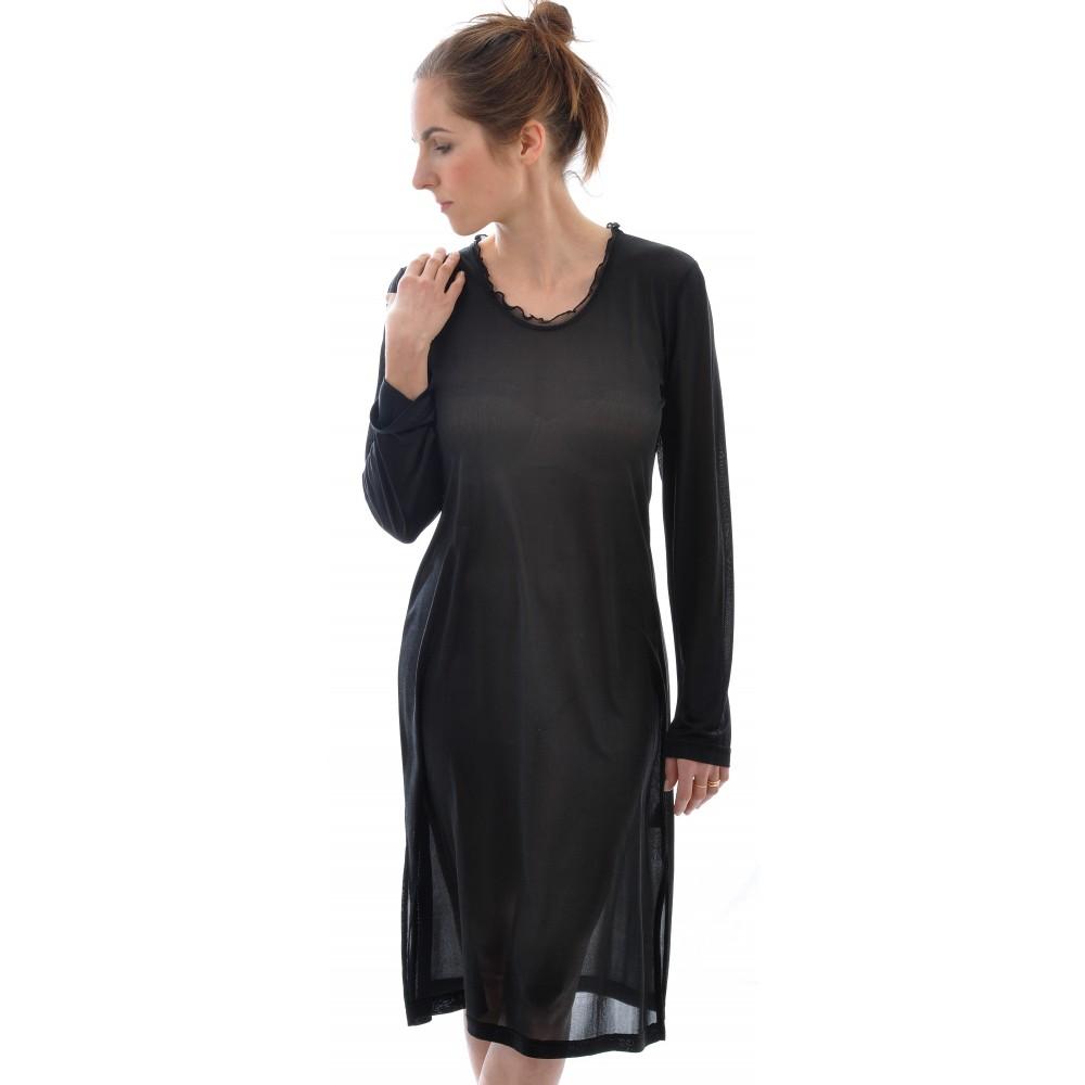 Alkena natkjole økologisk silke sort-01