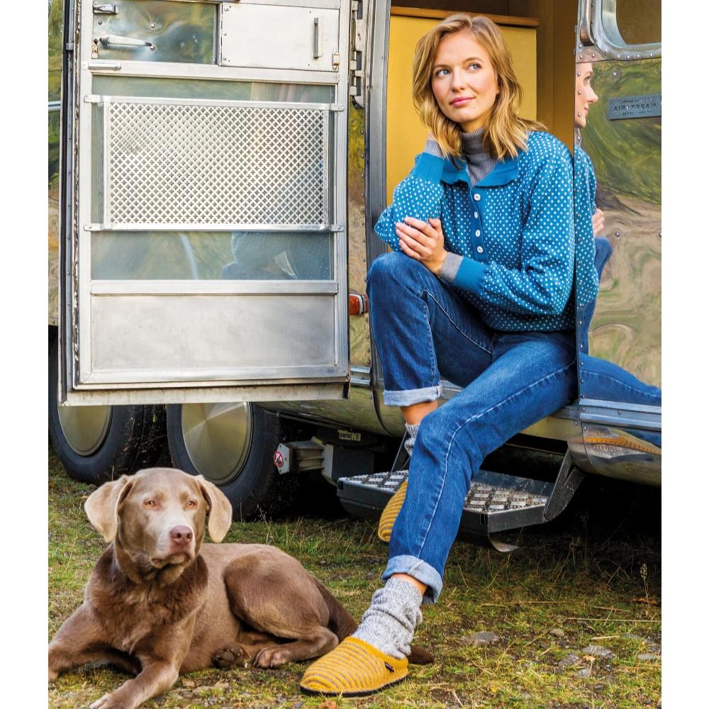 Haflinger hjemmesko i uld Flair Cathy karry/sand-01