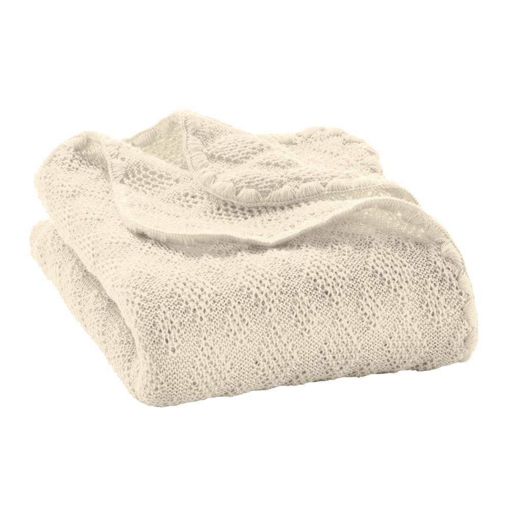 DISANA strikket babytæppe økologisk uld natur-31