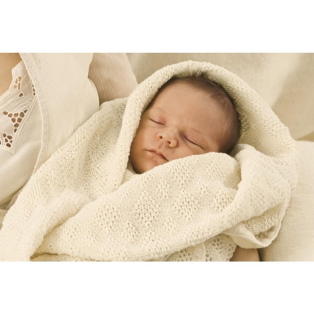 DISANA strikket babytæppe økologisk uld natur-01