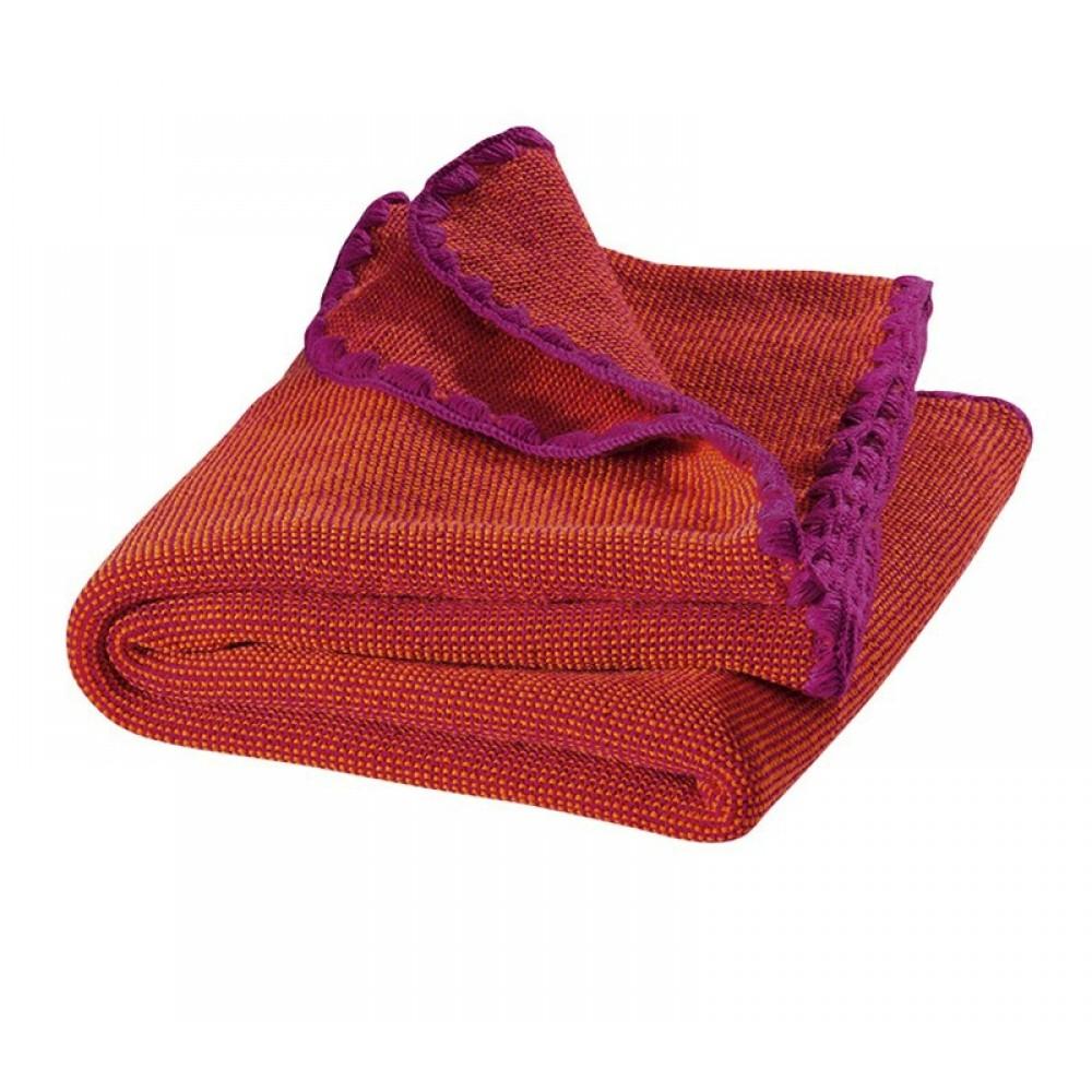 DISANA babytæppe økologisk uld hindbær melange-31