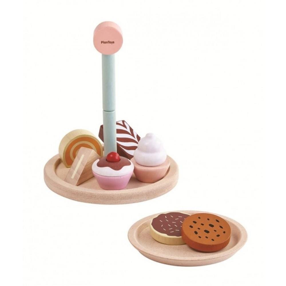 Plan Toys opsats med kager og mad-01