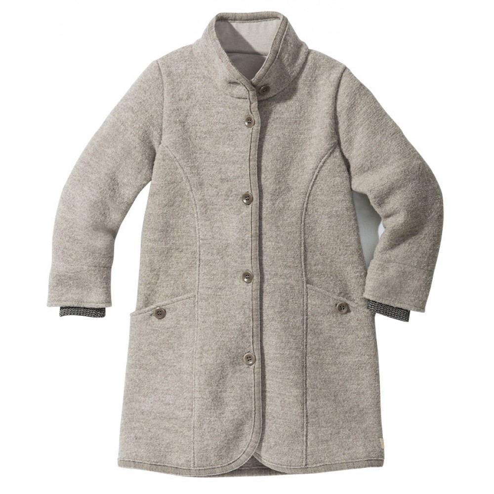 DISANA | lang uldjakke | kogt uld | grå-31