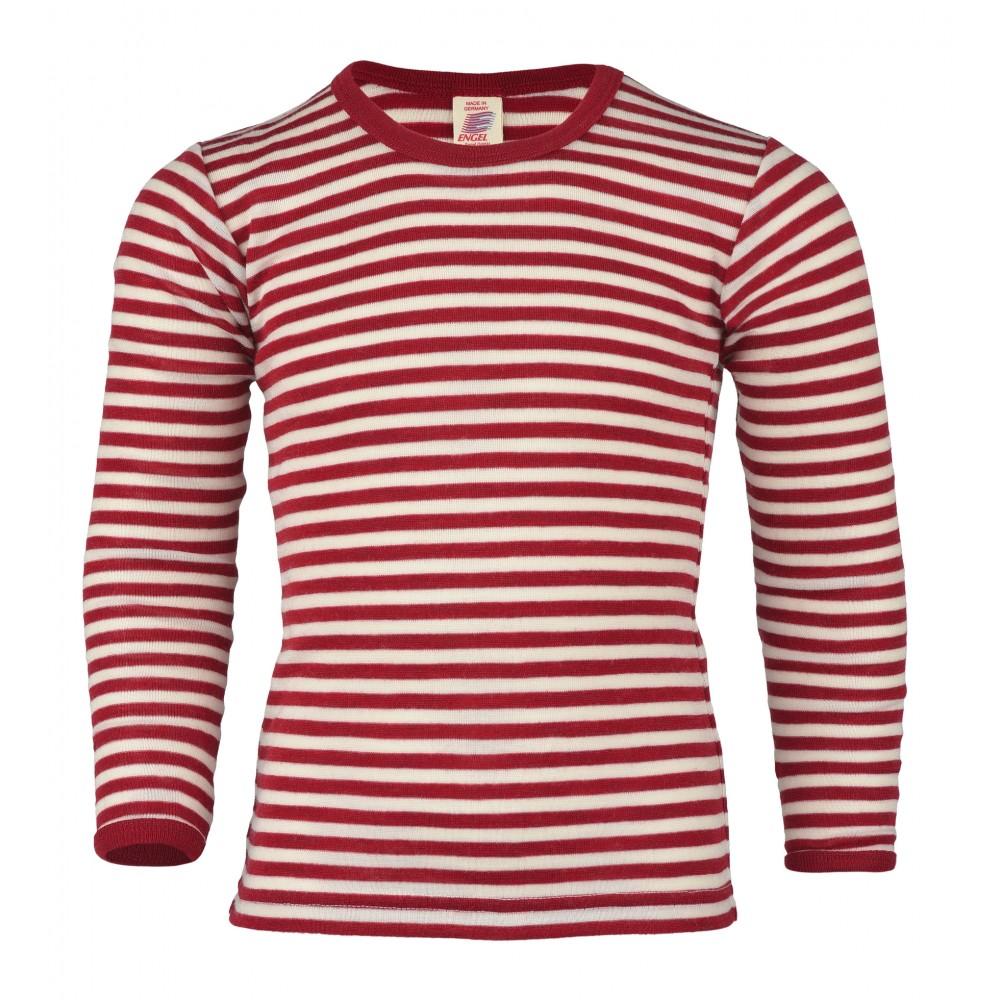 Engel langærmet bluse uld rød/natur-31