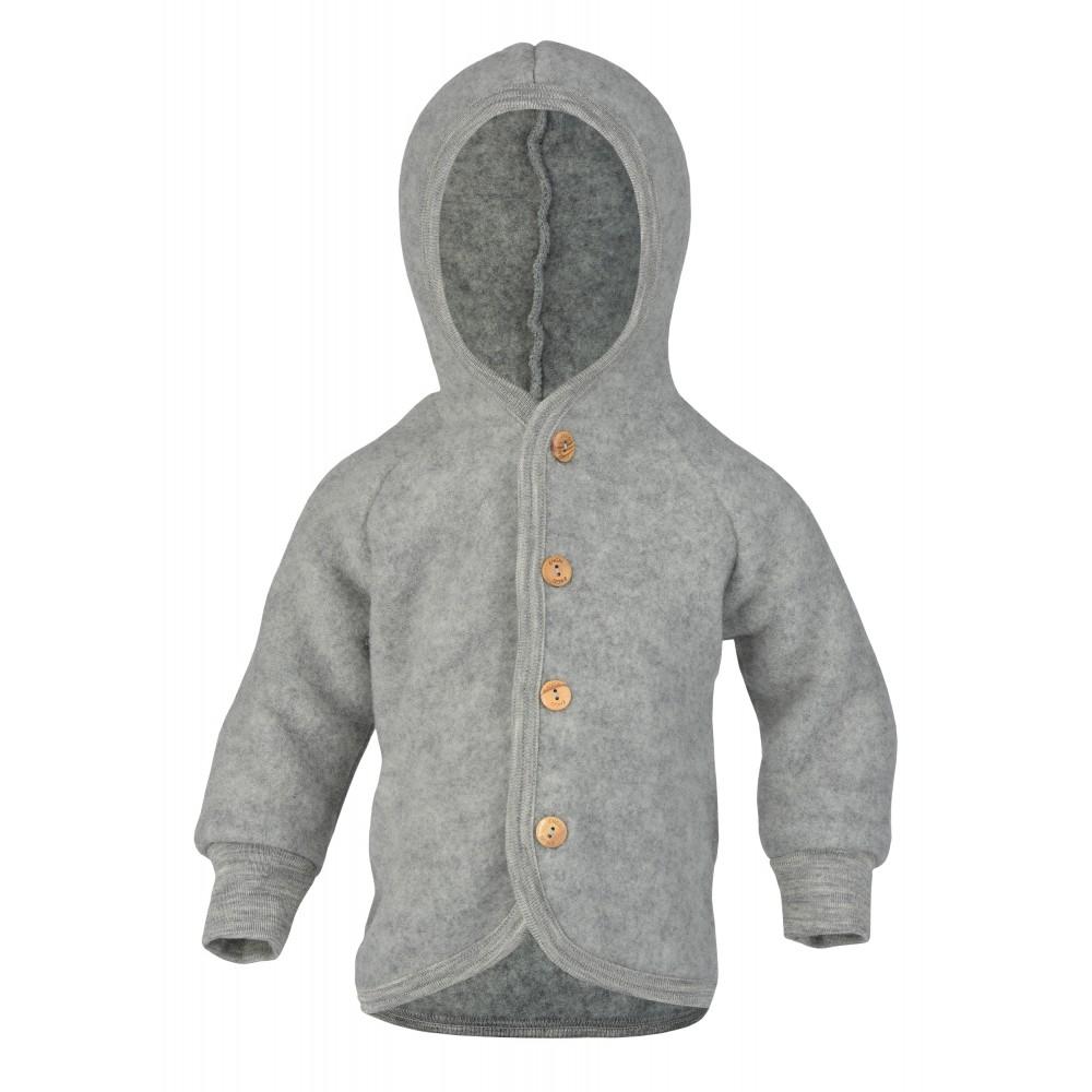 Engel jakke med hætte i økologisk uldfleece grå-32