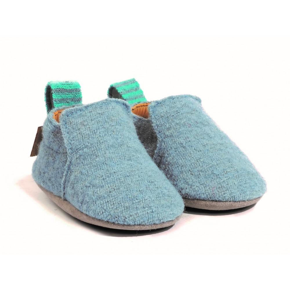 Haflinger indesko hafli uld naturgummisål blå-31