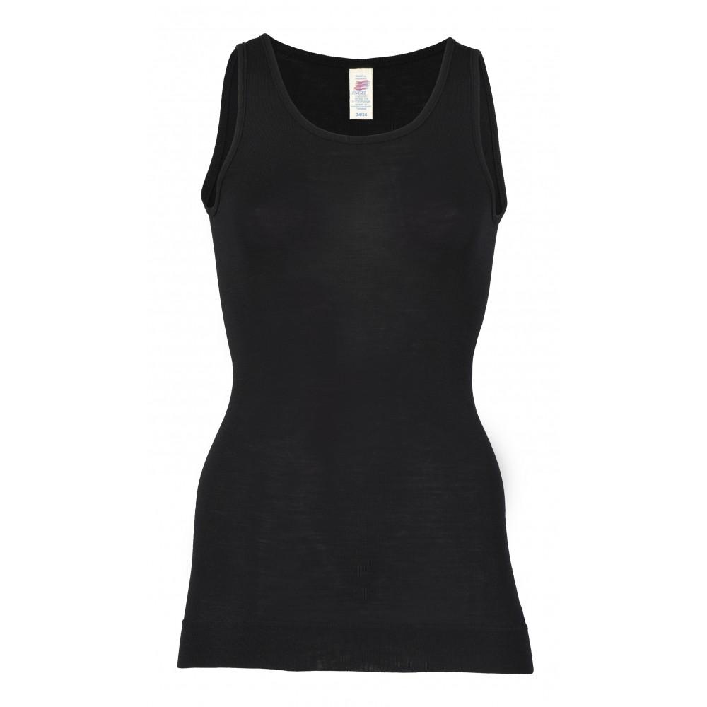 Engel dame undertrøje med ekstra længde uld and silke sort-31