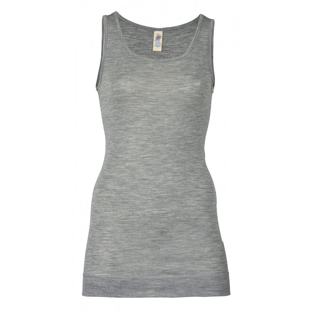 Engel dame undertrøje med ekstra længde uld and silke grå-31