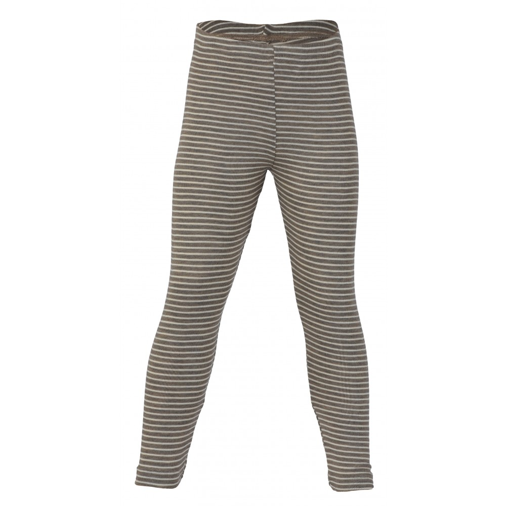 Engel leggings uld and silke valnød/natur stribet-31