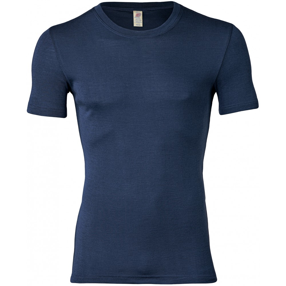 Engel herre kortærmet t-shirt uld and silke marineblå-31