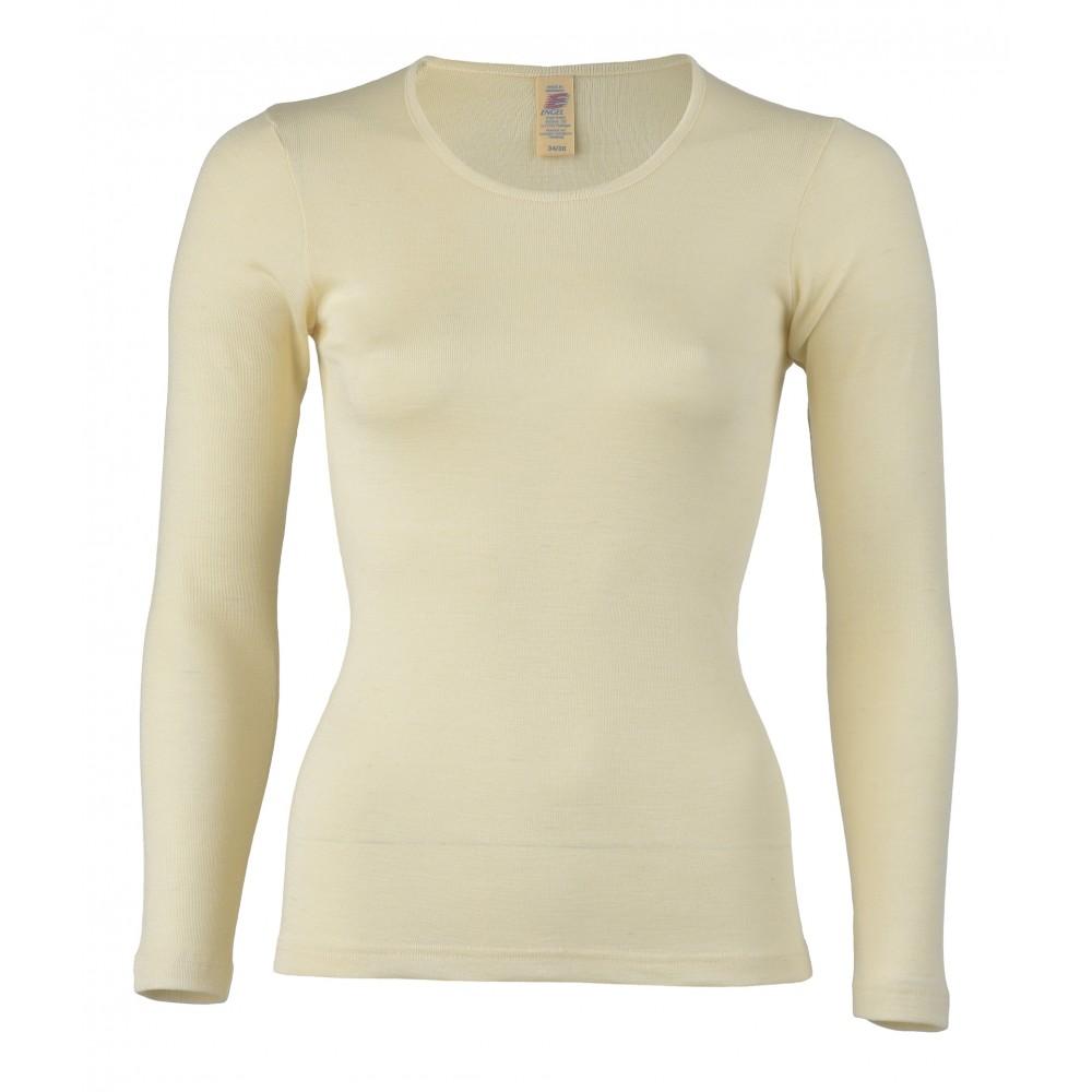 Engel dame langærmet T-shirt uld and silke natur-31