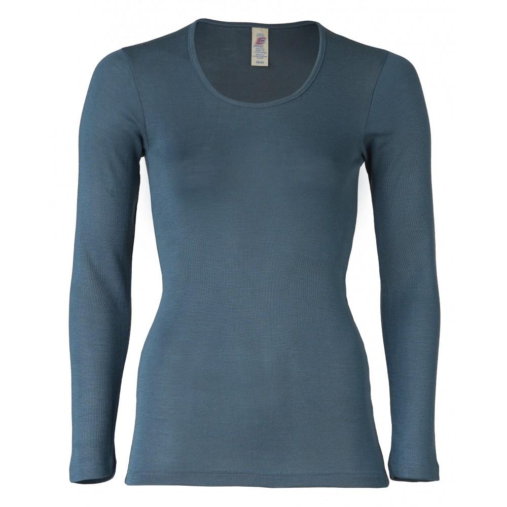Engel dame langærmet t-shirt uld and silke atlantic-31