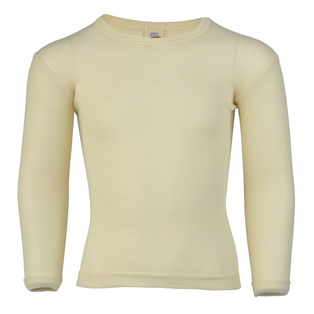 Engel langærmet bluse uld and silke natur-31