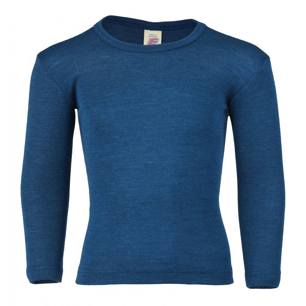 Engel langærmet bluse uld and silke petroleum-31