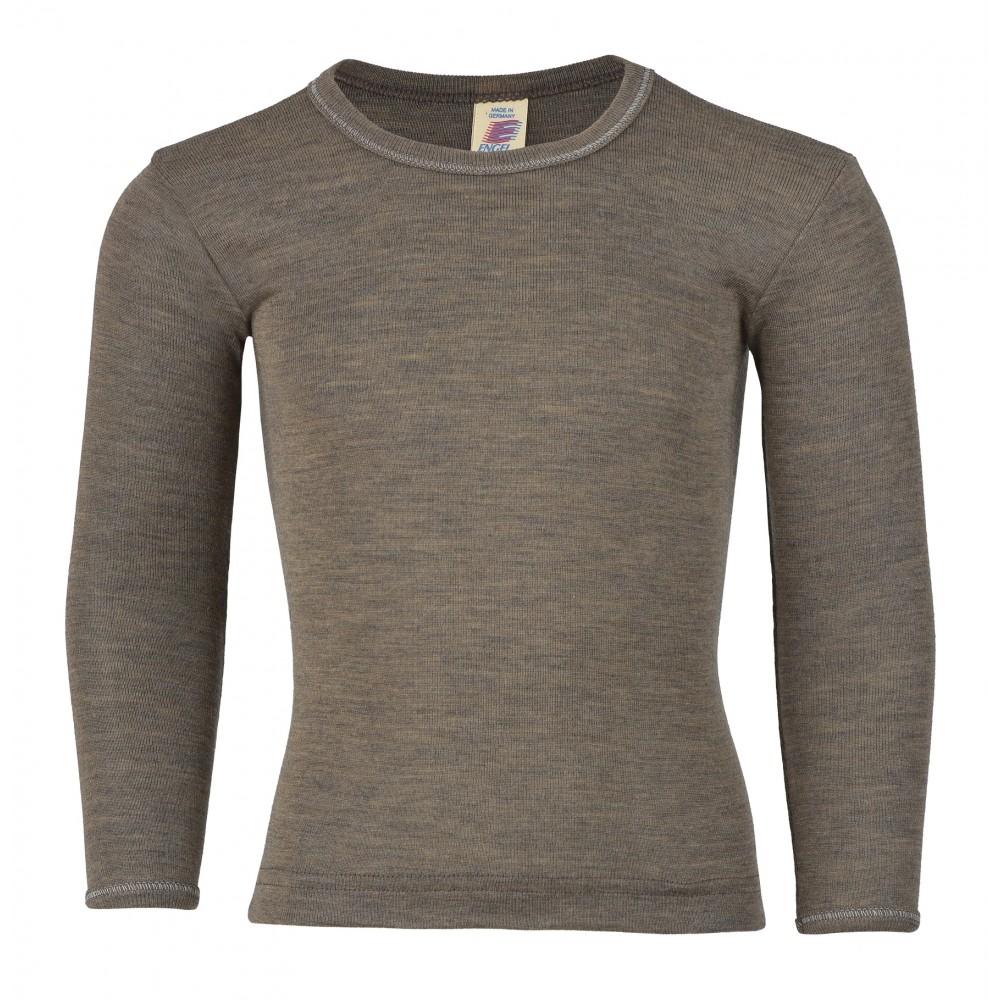 Engel langærmet bluse uld and silke valnød-31