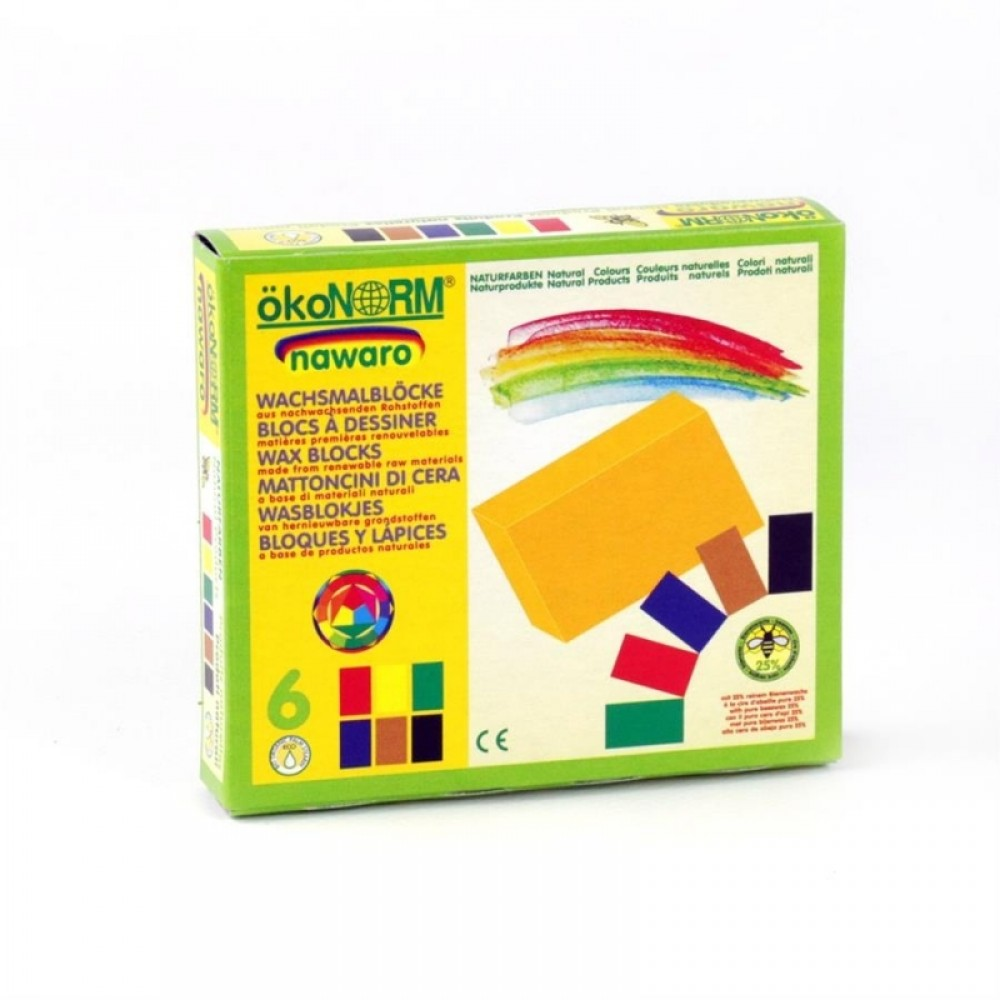ÖkoNORM bivoks blokke 6 stk. klassiske farver-01