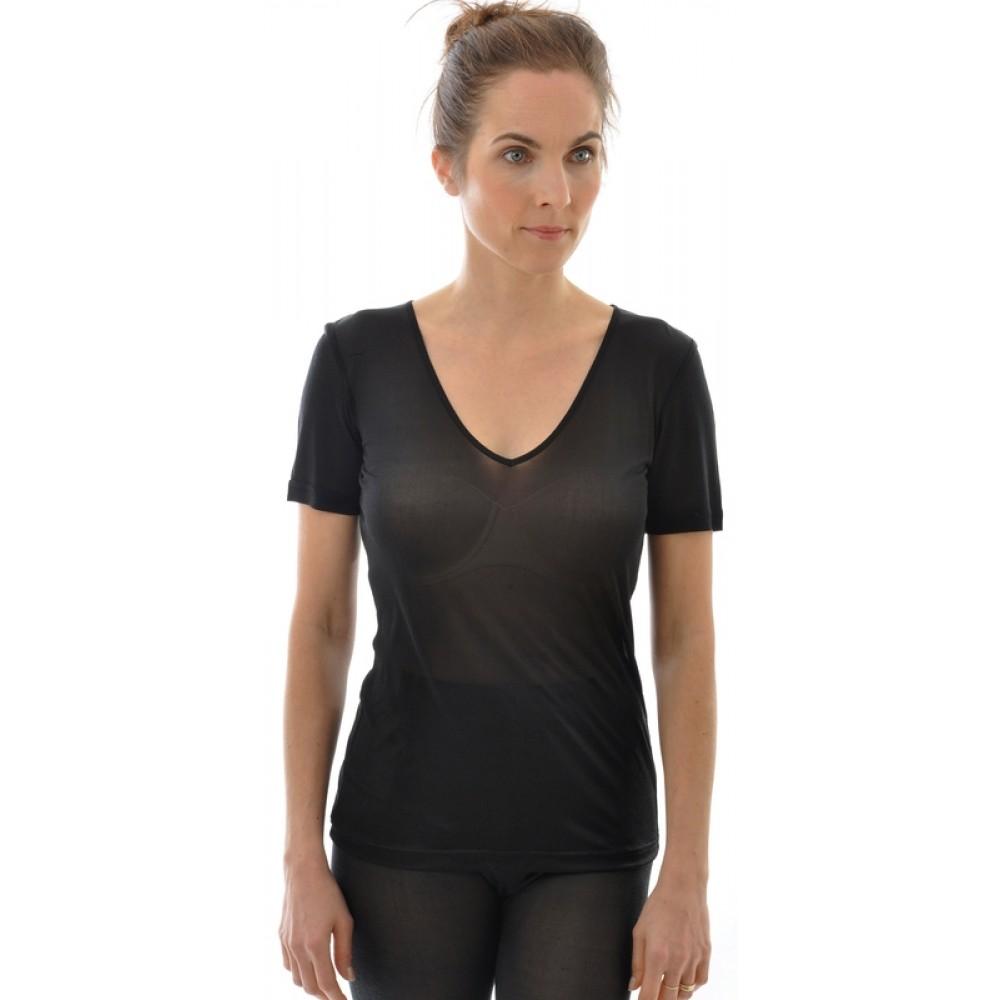 Alkena kortærmet t-shirt v-hals økologisk silke sort-31