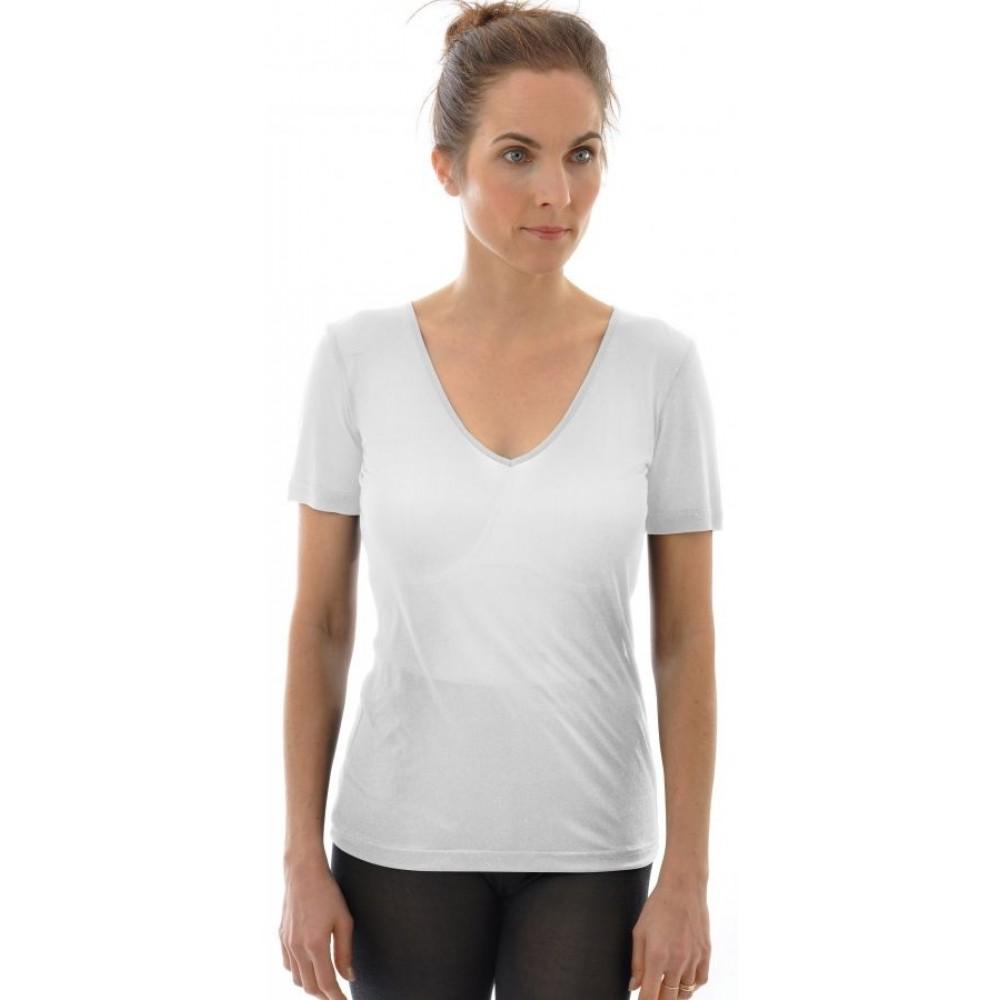 Alkena kortærmet t-shirt v-hals økologisk silke hvid-31