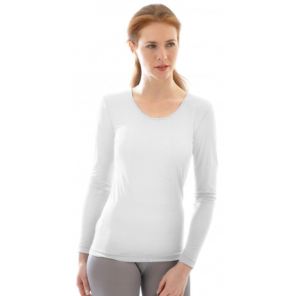 Alkena langærmet t-shirt økologisk silke hvid-01