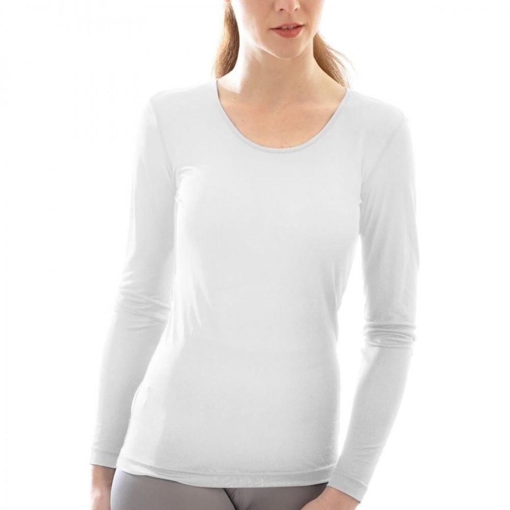 Alkena langærmet t-shirt økologisk silke hvid-31