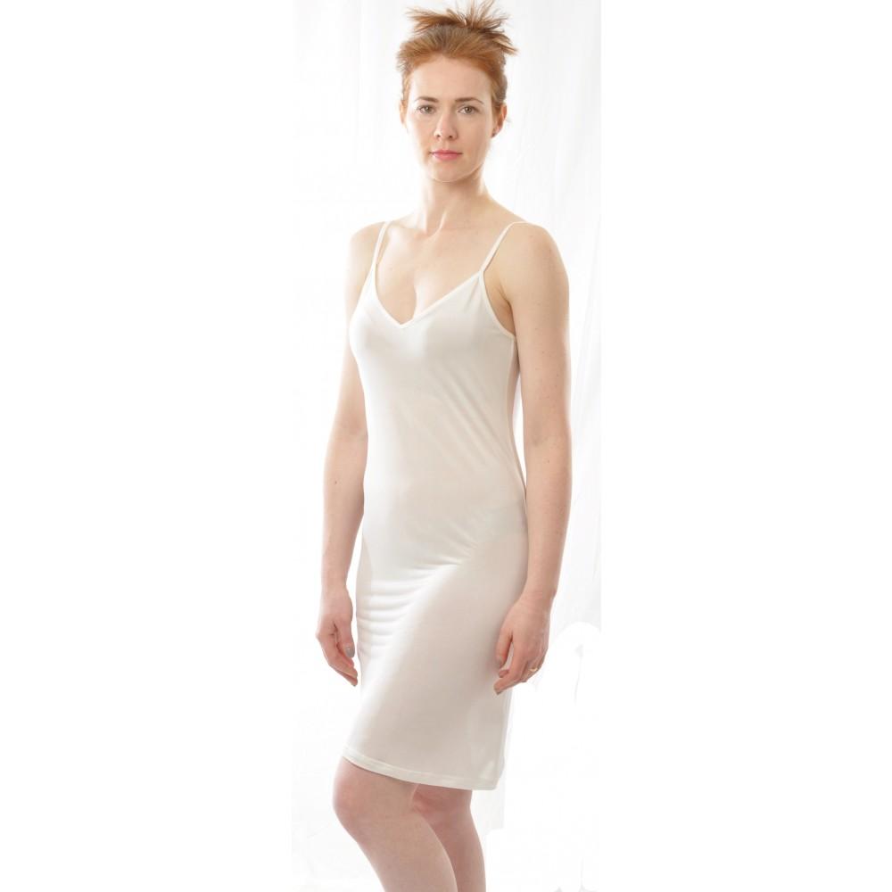 Alkena underkjole/natkjole økologisk silke hvid-31