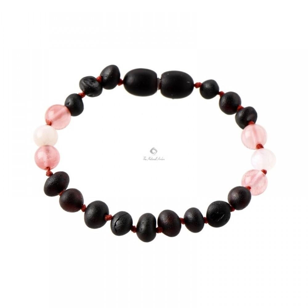 Rav armbånd baby and barn raw cherry-månesten-rosa quartz-31