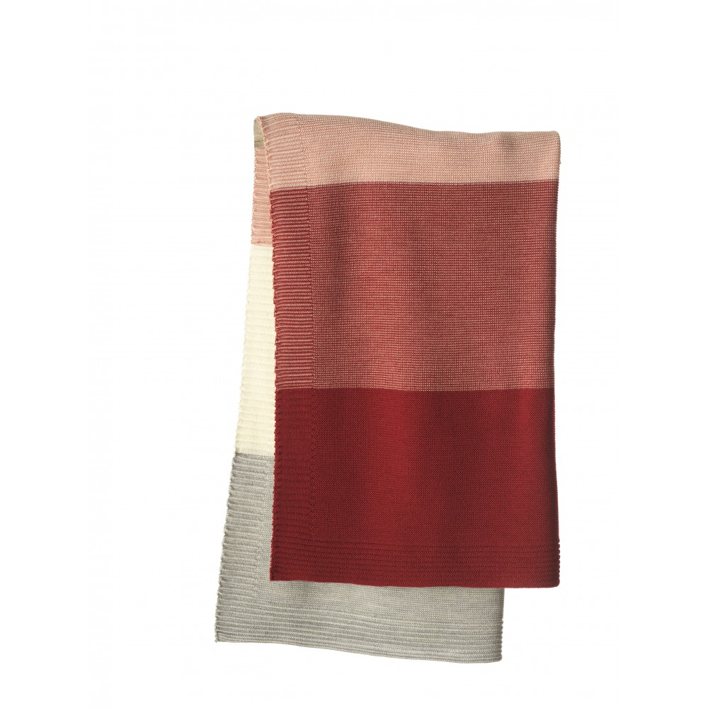 DISANA babytæppe økologisk uld bordeaux/rosé stribet-31