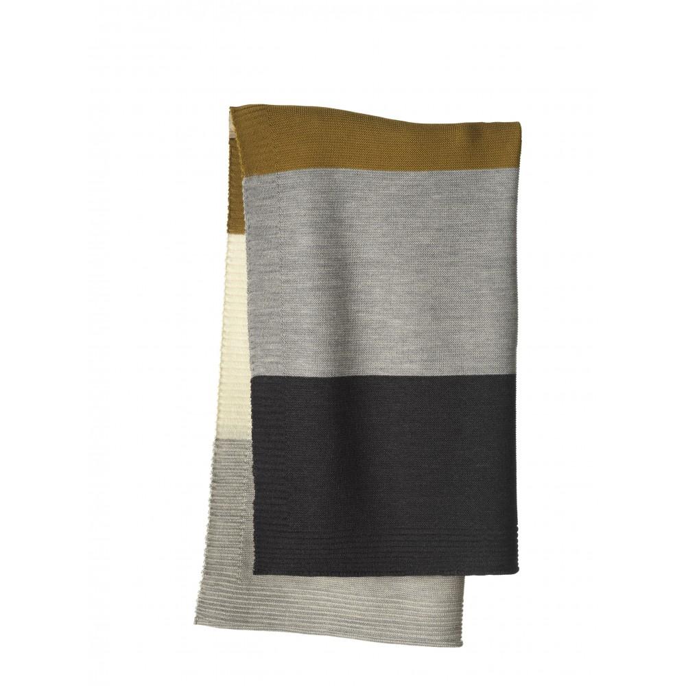DISANA babytæppe økologisk uld gold/grey stribet-31