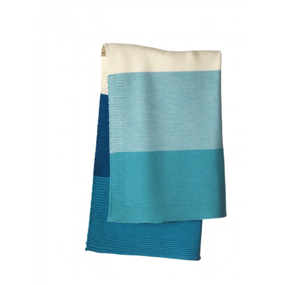 DISANA babytæppe økologisk uld lagoon/blå stribet-31