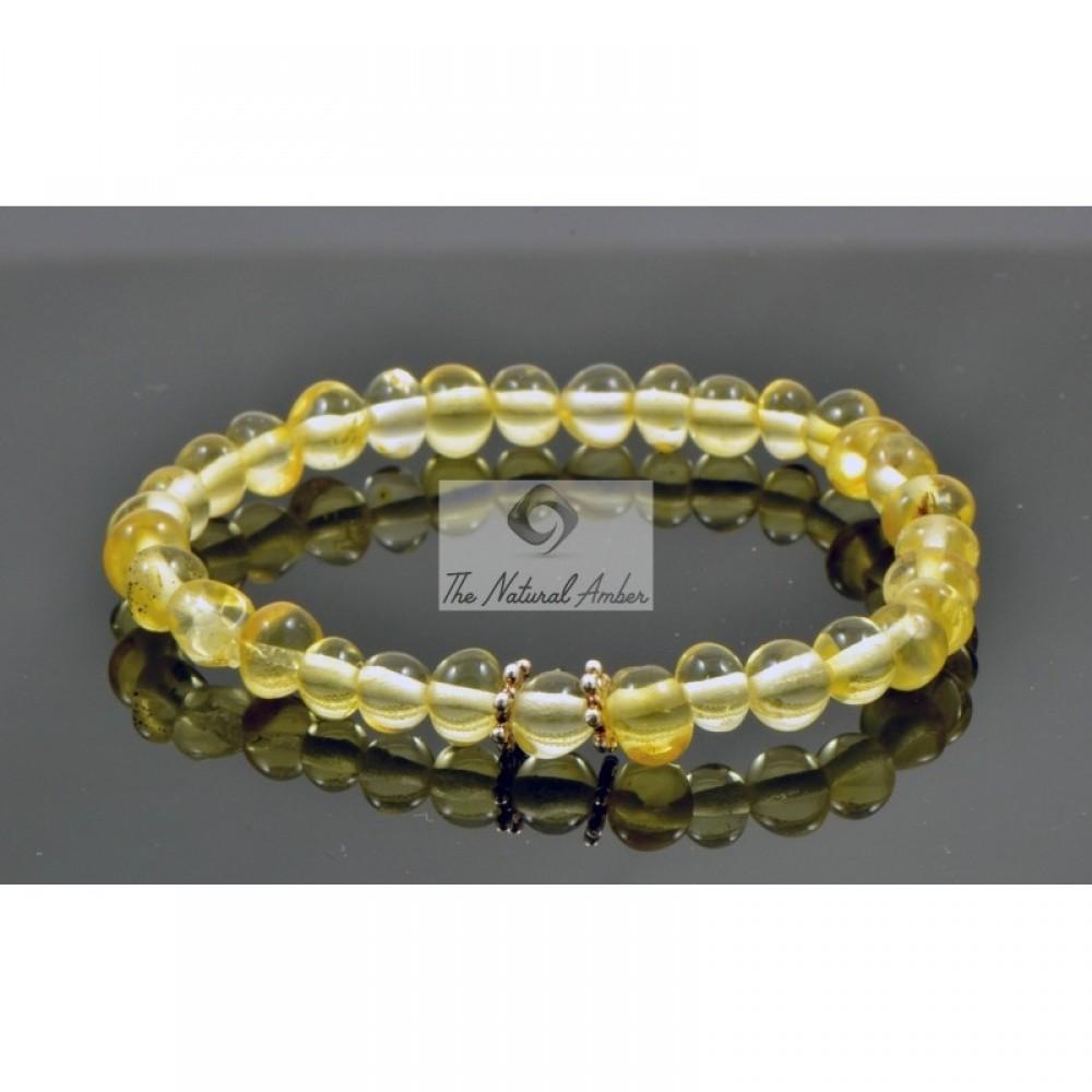 rav armbånd m. elastik større børn lys rav med sølvblomst-31