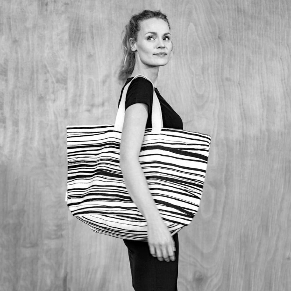 Bo Weevil stor taske kraftig canvas stripes-01