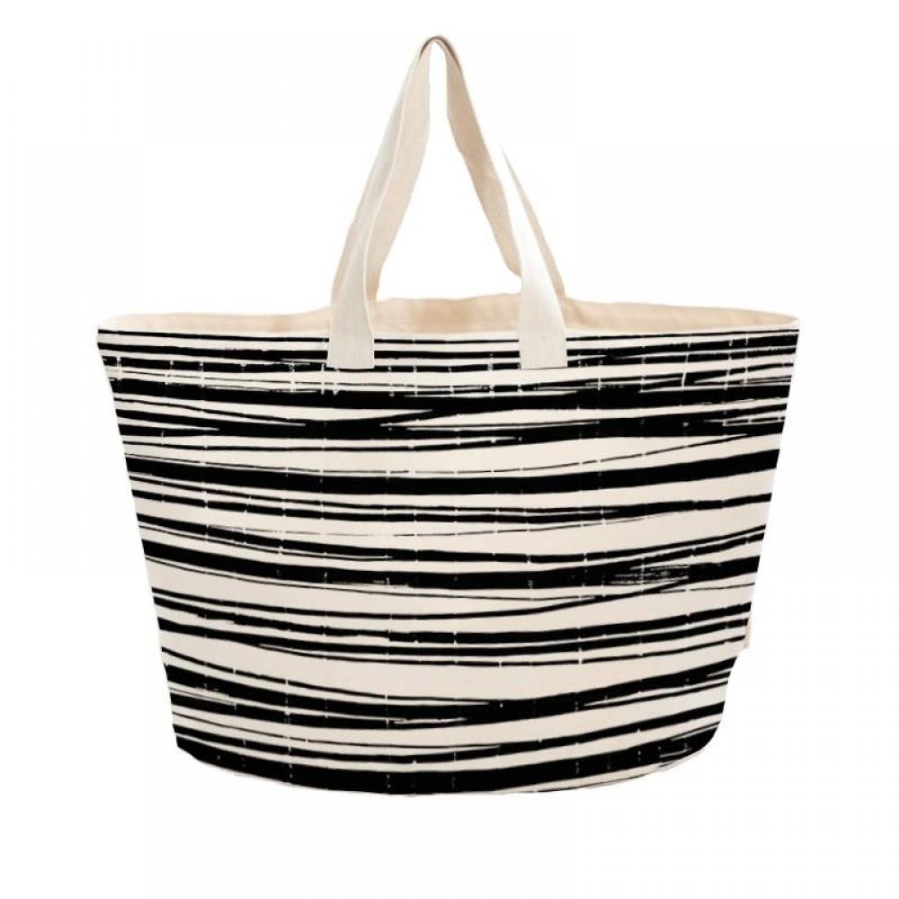 Bo Weevil stor taske kraftig canvas stripes-31
