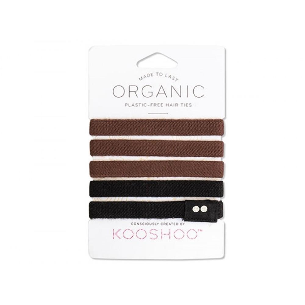 Kooshoo økologiske hårelastikker 5 stk. sort and brun-31