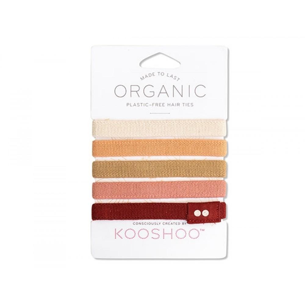 Kooshoo økologiske hårelastikker 5 stk. ginger-31