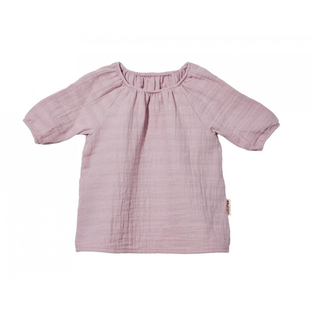 Cotonea bluse med 3/4 ærme større børn muslin støvet rosa-31