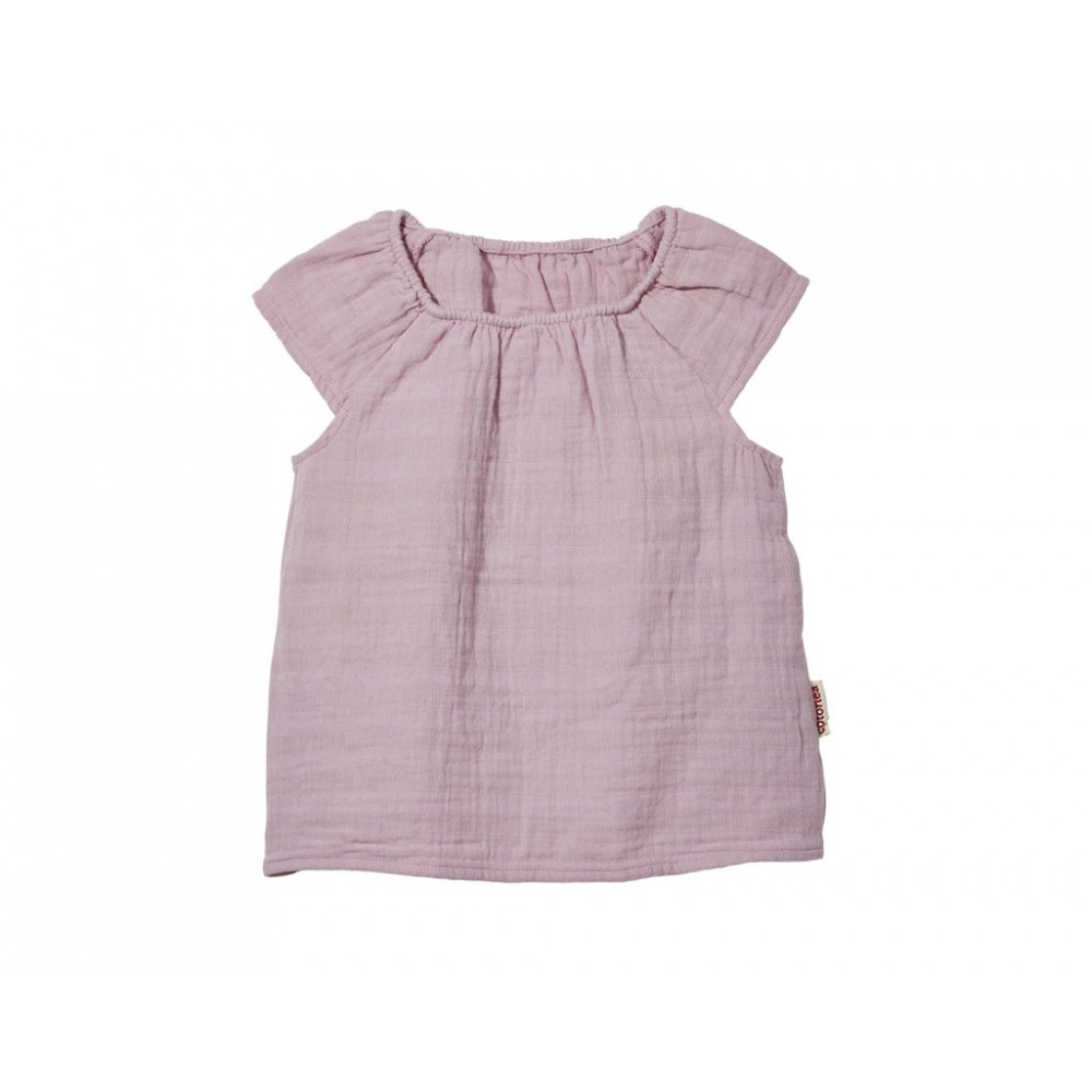 Cotonea top med lille ærme større børn muslin støvet rosa-31