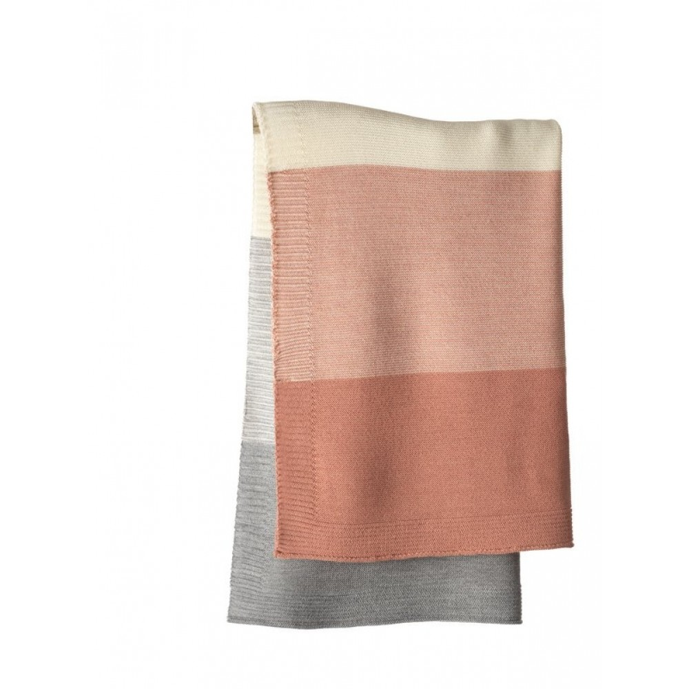 DISANA babytæppe økologisk uld rosé/grå stribet-31
