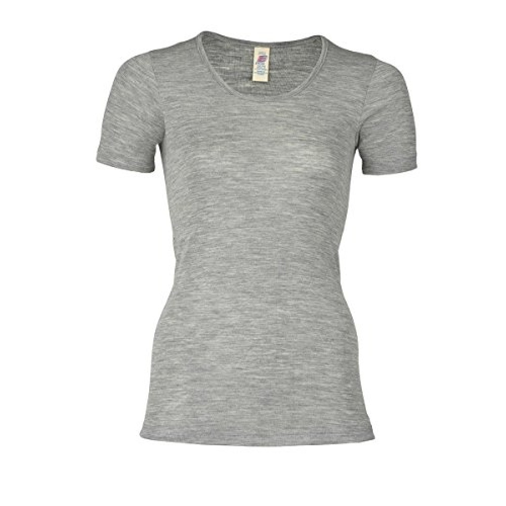 bfdf3d18c7f4 dame kortærmet uld og silke bluse -gots certificeret - smuk grå farve
