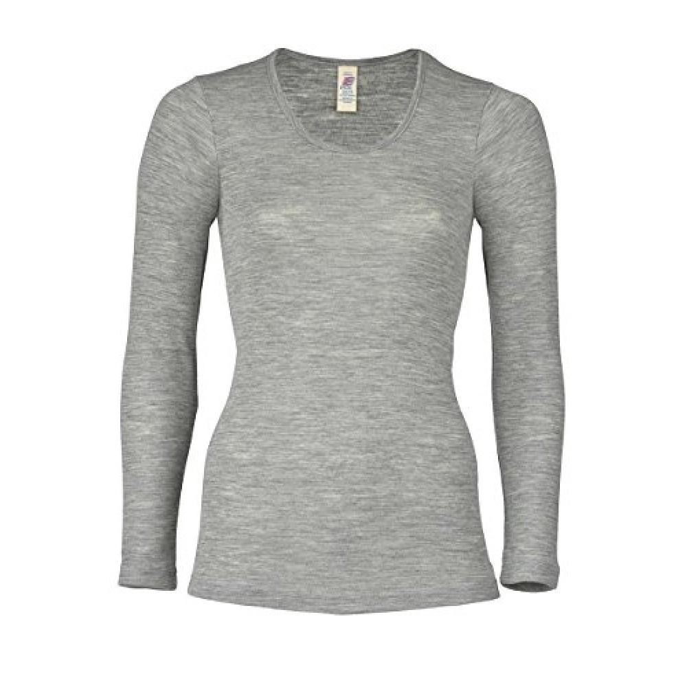 Engel dame langærmet t-shirt uld and silke grå-31
